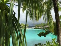 Blue lagoon at Bora bora Stock Photography