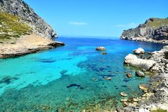 Blue Lagoon At Coast Of Mallorca. Spain Royalty Free Stock Image