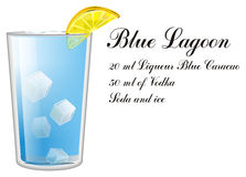 Blue lagoon cocktail with black inscription. One glass of blue lagoon with his name and recipe Stock Photography