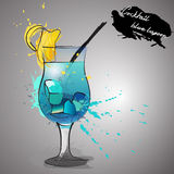 Blue lagoon cocktail with color splash Royalty Free Stock Images