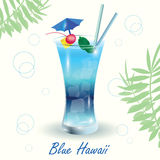 Blue Lagoon Cocktail. Cocktail Blue Hawaii on white background with bubbles and fern leaves Stock Image