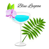 Blue Lagoon cocktail  isolated on white Stock Image