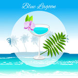 Blue Lagoon cocktail on the seaside background stock images