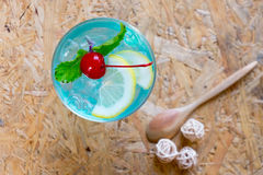 Blue lagoon cocktail with a slice of lemon Royalty Free Stock Photography