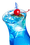 Blue lagoon cocktail. Blue lagoon. Summer refreshing cocktail decorated with cherry. Closeup Stock Images