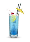 Blue lagoon cocktail. Vector Blue lagoon cocktail garnished with maraschino cherry,ice cubes, fresh lemon, yellow party umbrella and black straw tubes isolated Royalty Free Stock Photo