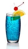 Blue lagoon cocktail. On white background stock photos