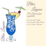 Blue Lagoon. Cocktails card. Stock Photo