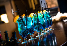 Blue lagoon cocktails royalty free stock image