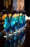 Blue lagoon cocktails Stock Photo