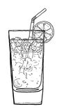 Blue Lagoon coffee cocktail  hand drawn cute line art painting i Stock Image