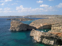 Blue lagoon at Comino island. Blue lagoon, Comino, Cominotto, Gozo islands of Malta Stock Photo