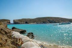 The Blue Lagoon in Comino Island - Gozo, Malta Royalty Free Stock Photos