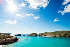 Blue lagoon comino island gozo. Wonderful place like in dream in blue lagoon malta island and gozo Stock Photography