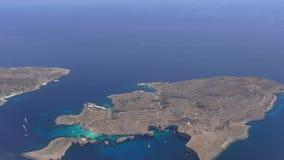 Blue Lagoon, Comino island,Malta, aerial view stock video