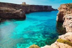 The Blue Lagoon on Comino Island, Malta Gozo.  Royalty Free Stock Photos