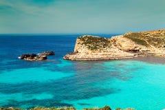 The Blue Lagoon on Comino Island, Malta Gozo Stock Images