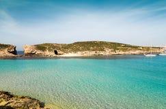 The Blue Lagoon on Comino Island, Malta Gozo Royalty Free Stock Photo