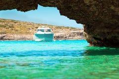 The Blue Lagoon on Comino Island, Malta Gozo Royalty Free Stock Photos