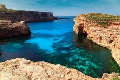 The Blue Lagoon on Comino Island, Malta Gozo Stock Image