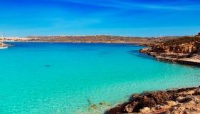 The Blue Lagoon on Comino Island, Malta Gozo. Stock Photo