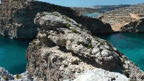 The Blue Lagoon on Comino Island stock video