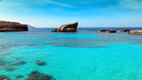 The Blue Lagoon on Comino Island, Malta Gozo Stock Photos