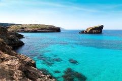 The Blue Lagoon on Comino Island, Malta Gozov Royalty Free Stock Photo