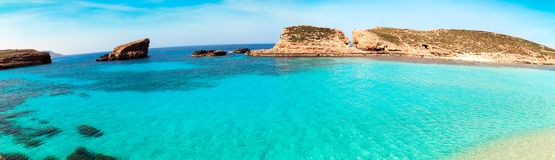 The Blue Lagoon on Comino Island, Malta Gozov Royalty Free Stock Photo
