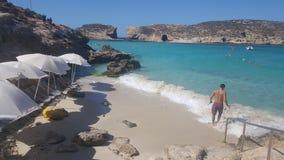 Blue Lagoon Comino Island Malta. White Sand Beach & Blue Water In Paradise Royalty Free Stock Photography