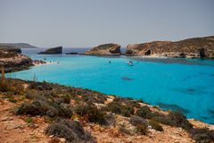 BLUE LAGOON, COMINO, MALTA - APRIL 13, 2016. People enjoy blue lagoon  with crystal clear blue water. Stock Photography