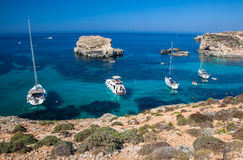 Blue lagoon at Comino - Malta Royalty Free Stock Image
