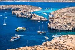 Blue lagoon at Comino - Malta Royalty Free Stock Image