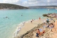 Blue Lagoon on Comino in Malta Stock Photo