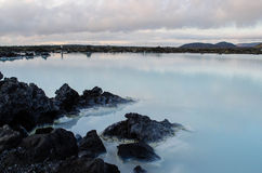 Blue Lagoon at dusk. View of Iceland's Blue Lagoon geothermal waters at dusk Stock Photo