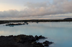 Blue Lagoon at dusk. View of Icelands Blue Lagoon geothermal waters at dusk Royalty Free Stock Photography