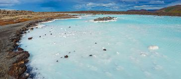 The blue lagoon geothermal bath. Royalty Free Stock Photography