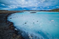 The blue lagoon geothermal bath. Stock Photos