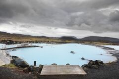 THE BLUE LAGOON, ICELAND, AUGUST 30, 2019: Blue Lagoon, the famous geothermal spa in southwestern Iceland.