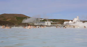 Blue Lagoon Geothermal Spa with swimmers. Stock Photo