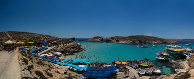 The Blue Lagoon gets its name from the beautiful colors of the s. Ea and is situated at the island of Comino, part of Malta Stock Photos