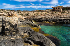 The Blue Lagoon gets its name from the beautiful colors of the s. Ea and is situated at the island of Comino, part of Malta Stock Image