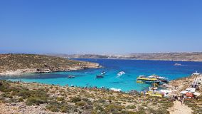 Blue lagoon at Gozo & x28;Malta& x29;. Blue lagoon at Gozo. One of the Islands of Malta.  Water looks more blue than at other places in the world. You can only Royalty Free Stock Photo