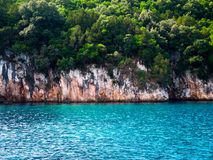Blue lagoon, Greece. Blue lagoon,  wild beach, blue crystal water, cruise,  Greece Stock Images