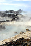 Blue Lagoon Hot Springs. Volcano landscape at the turquoise colored Blue Lagoon Hot Springs in Iceland Stock Photos