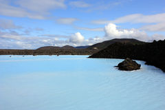 Blue lagoon in iceland. The bright blue waters of the blue lagoon in iceland famous for its thermal spa Stock Images