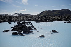 Blue Lagoon Iceland. The Blue Lagoon  geothermal spa is one of the most visited places in Iceland. The steamy waters are located in a lava field in Grindavik Stock Photos