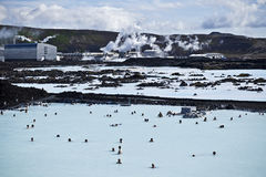 Blue Lagoon Iceland. The Blue Lagoon  geothermal spa is one of the most visited places in Iceland. The steamy waters are located in a lava field in Grindavik Stock Images