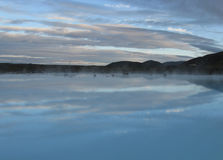 Blue Lagoon in Iceland. With reflected clouds Royalty Free Stock Photo