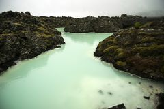 Blue lagoon in Iceland, colorful hot springs, tourist attraction Royalty Free Stock Photography